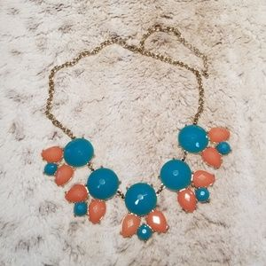 Aqua and Coral Pink Accented Gold Necklace